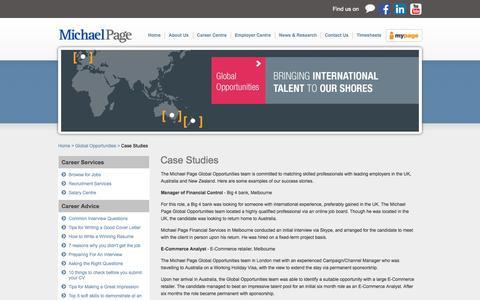 Screenshot of Case Studies Page michaelpage.com.au - Case Studies   Michael Page - captured Oct. 30, 2014
