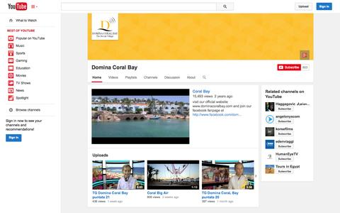 Screenshot of YouTube Page youtube.com - Domina Coral Bay  - YouTube - captured Oct. 23, 2014