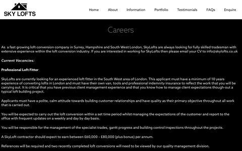 Screenshot of Jobs Page skylofts.co.uk - SkyLofts  Careers - captured Aug. 12, 2015