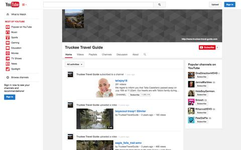 Screenshot of YouTube Page youtube.com - Truckee Travel Guide  - YouTube - captured Oct. 25, 2014
