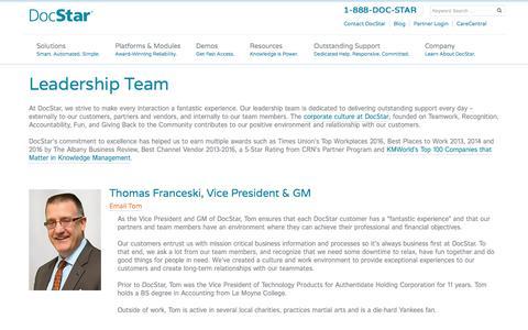 Screenshot of Team Page docstar.com - DocStar Leadership Team Bios - captured July 15, 2018