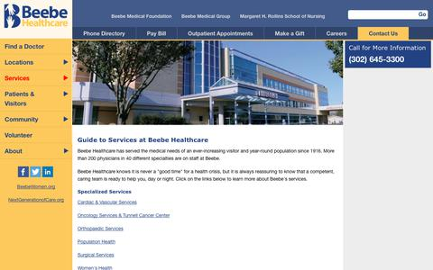 Screenshot of Services Page beebehealthcare.org - Guide to Services at Beebe Healthcare - Page | Beebe Healthcare - captured Aug. 1, 2018