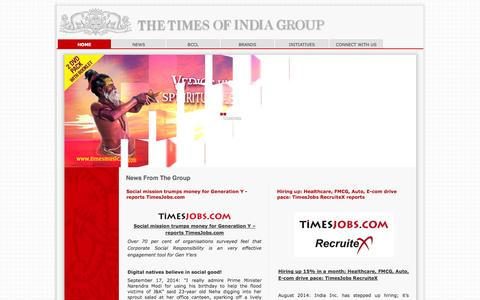 Screenshot of Home Page timesgroup.com - Welcome to The Times Of India Group - captured Sept. 22, 2014