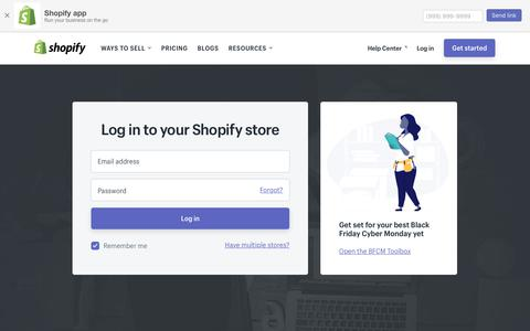 Screenshot of Login Page shopify.com - Login — Shopify - captured Oct. 20, 2017