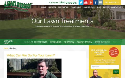 Screenshot of Services Page lawnmaster.co.uk - Lawn Treatment Services – Lawn Master - captured July 16, 2018