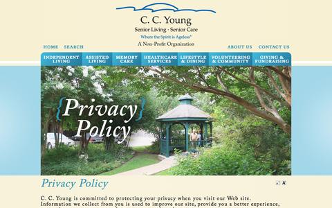 Screenshot of Privacy Page ccyoung.org - Privacy Policy | C. C. Young Senior LivingC. C. Young Senior Living - captured Sept. 26, 2014