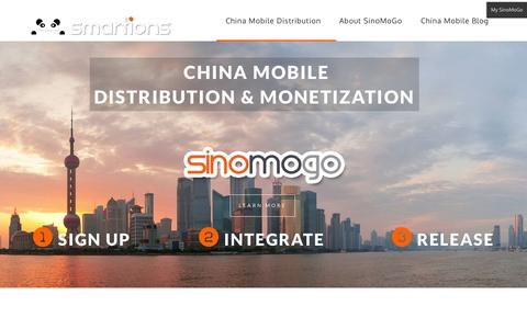 Screenshot of Home Page Contact Page smartions.net - China Mobile Distribution - captured Oct. 4, 2014