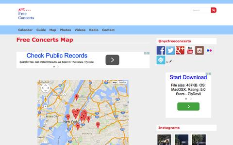 Screenshot of Maps & Directions Page nycfreeconcerts.com - Free Concerts Map - NYC FREE CONCERTS - captured Oct. 4, 2015