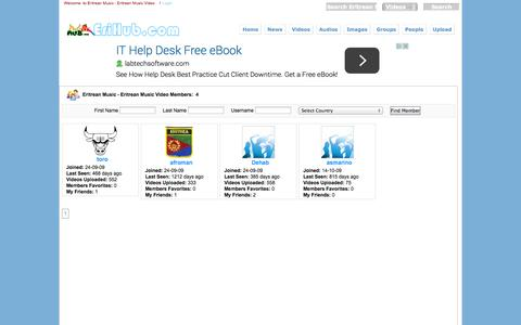 Screenshot of Team Page erihub.com - Browse Members on Eritrean Music - Eritrean Music Video - captured Oct. 30, 2014