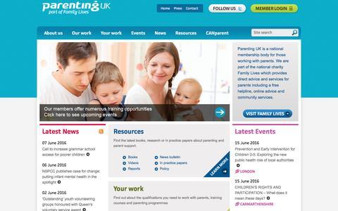 Screenshot of Home Page parentinguk.org - Parenting UK - the membership organisation for parenting professionals - captured June 11, 2016