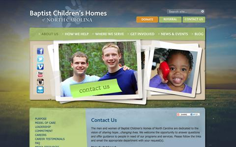 Screenshot of Contact Page bchfamily.org - Contact Us | Baptist Children's Homes of NC - captured May 24, 2016