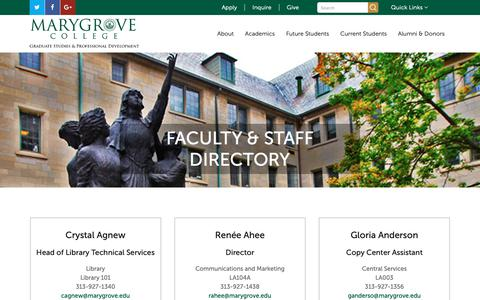 Screenshot of Contact Page marygrove.edu - Faculty Directory - captured Oct. 17, 2018
