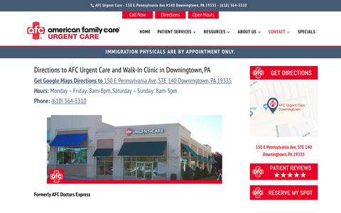 Screenshot of Contact Page Maps & Directions Page afcurgentcaredowningtown.com - Urgent Care Downingtown, PA | AFC Urgent Care Downingtown, PA Directions - captured Nov. 2, 2018