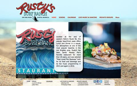 Screenshot of Home Page rustyssurfranch.com - Rusty's Surf Ranch Restaurant Bar - captured Aug. 15, 2016