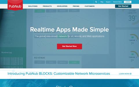 Screenshot of Home Page pubnub.com - Best Realtime Apps Powered by Global Data Stream Network | PubNub - captured Dec. 15, 2015