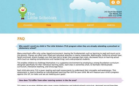Screenshot of FAQ Page thelittlescholars.com - The Little Scholars | FAQ - captured Oct. 8, 2014