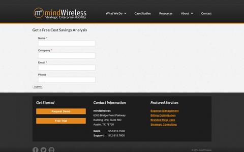Screenshot of Trial Page mindwireless.com - Get a Free Cost Savings Analysis | mindWireless | TEM - captured Oct. 9, 2014