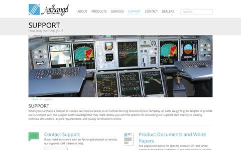 Screenshot of Support Page archangel.com - Support - captured Feb. 6, 2016