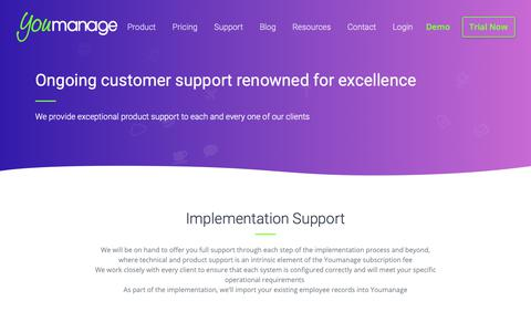 Screenshot of Support Page youmanage.co.uk - HR Software Support and Implementation - Youmanage HR - captured Oct. 20, 2018