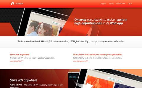 Screenshot of Developers Page adzerk.com - Developers | Adzerk - Ad Server Platform for Enterprise Publishers and Developers - captured Sept. 12, 2014
