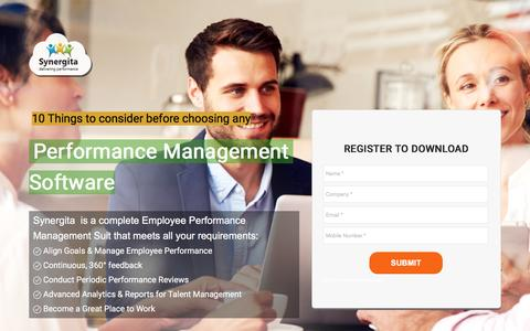 Screenshot of Landing Page synergita.com - 10 Things to look for in a Performance Management Software - captured Dec. 31, 2016