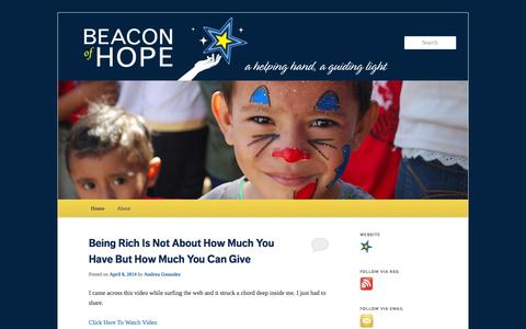 Screenshot of Blog beaconofhope.org - Beacon of Hope | A helping hand, a guiding light - captured Sept. 30, 2014