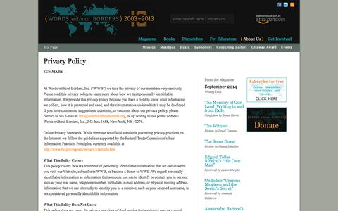 Screenshot of Privacy Page wordswithoutborders.org - Privacy Policy - Words Without Borders - captured Sept. 19, 2014