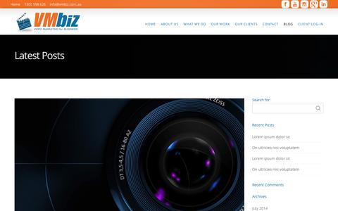 Screenshot of Blog vmbiz.com.au - VMBIZ Video Productions (VMBIZ Pty Ltd)Blog - VMBIZ Video Productions (VMBIZ Pty Ltd) - captured Nov. 4, 2014