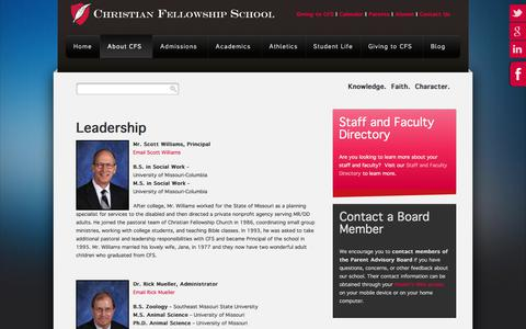 Screenshot of Team Page cfsknights.org - Leadership at CFS - School and Advisory Boards - captured July 30, 2017