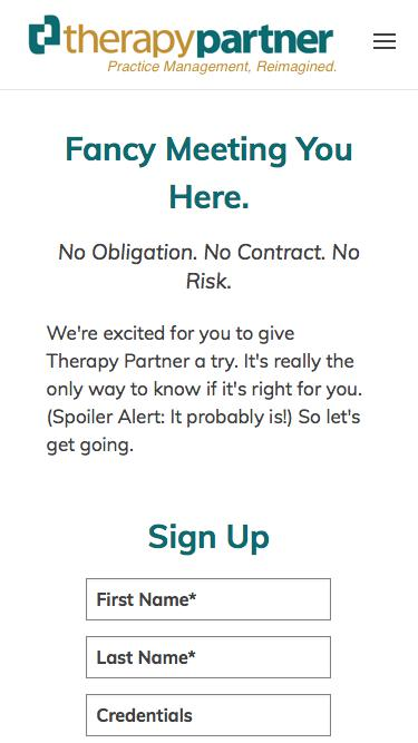 Screenshot of Trial Page  therapypartner.com - Signup | No risk 30-day practice management software trial