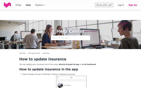 Screenshot of Support Page lyft.com - How to update insurance – Lyft Help - captured June 22, 2018