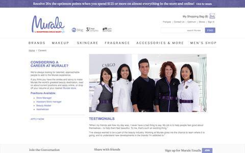 Screenshot of Jobs Page murale.ca - Careers - captured Oct. 26, 2014
