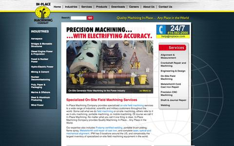 Screenshot of Home Page inplace.com - On-Site Machining Worldwide | In-Place Machining Company - captured Oct. 4, 2014