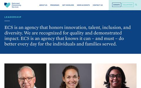 Screenshot of Team Page ecsphilly.org - Leadership – Episcopal Community Services - captured Sept. 28, 2018