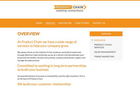 Screenshot of Services Page productchain.com - Overview |  Product Chain - captured Sept. 6, 2017