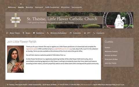 Screenshot of Signup Page littleflowerchurch.org - Join Our Parish - St. Therese, Little Flower Catholic Church - captured June 23, 2016