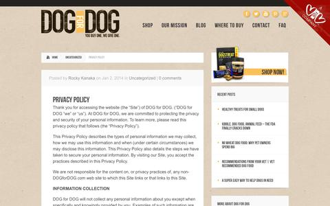 Screenshot of Privacy Page dogfordog.com - Privacy Policy   Dog Treats, Dog Food, Dogs Butter - captured Sept. 19, 2014