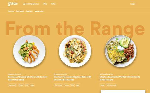 Screenshot of Menu Page gobble.com - Dinner kits designed for 15 minutes with 1 pan | Gobble - captured Sept. 29, 2018