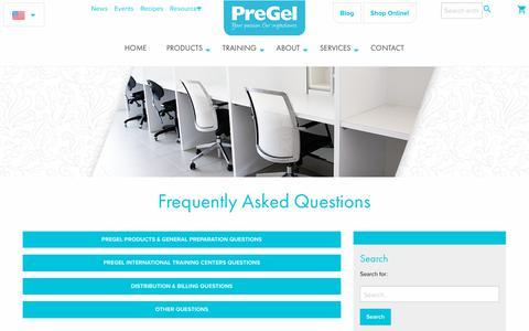 Screenshot of FAQ Page pregelamerica.com - Frequently Asked Questions - PreGel America - captured Nov. 1, 2018