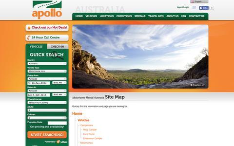 Screenshot of Site Map Page apollocamper.com - Motorhome rental campervan hire Australia - Site Map - captured Sept. 25, 2014