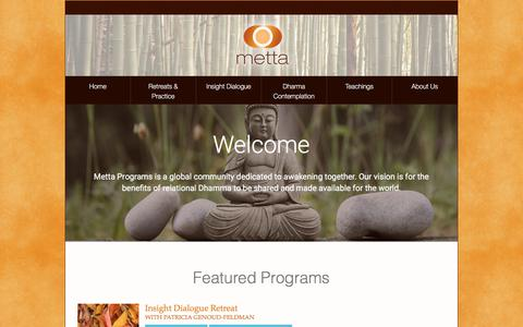 Screenshot of Home Page metta.org - Metta Programs - Insight Dialogue - captured Oct. 18, 2017