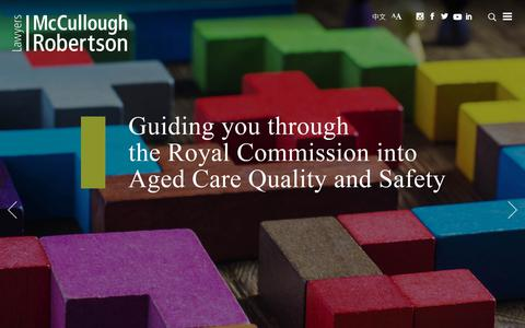 Screenshot of Home Page mccullough.com.au - McCullough Robertson Lawyers - captured June 22, 2019