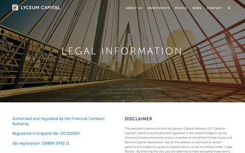 Screenshot of Terms Page lyceumcapital.co.uk - Legal information for the Lyceum Capital website - captured May 24, 2017