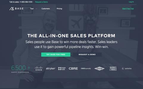 Screenshot of Home Page getbase.com - All-in-one Sales Platform | Base CRM Base - captured July 15, 2015