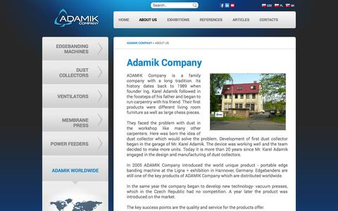 Screenshot of About Page adamikcompany.com - About us - Adamik Company - Portable edge banding machines and exhaustion devices - captured Sept. 30, 2014