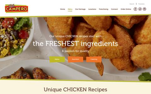 Screenshot of Menu Page campero.com - Our Menu - Pollo Campero - captured March 21, 2018