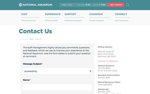 Screenshot of Contact Page aqua.org - National Aquarium | Contact Us - captured Aug. 17, 2018