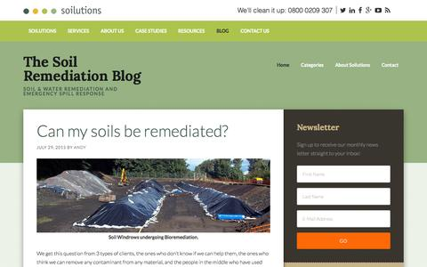 Screenshot of Blog soilutions.co.uk - The Soil Remediation Blog – Soil & water remediation and emergency spill response - captured Aug. 16, 2015