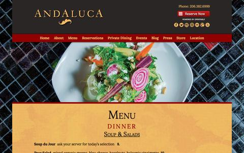 Screenshot of Menu Page andaluca.com - Dinner « Andaluca Restaurant - captured March 11, 2016