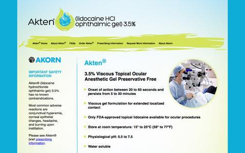 Screenshot of Home Page Site Map Page aktensd.com - Akten® Ocular Anesthesia - Akorn - captured April 19, 2016